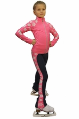 IceDress Pink Thermal Snowflake Figure Skating Outfit