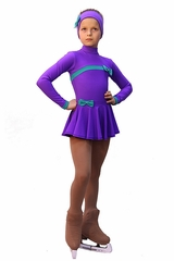 IceDress Purple Thermal Bows Skating Dress
