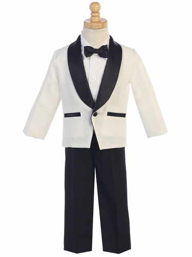Ivory & Black Dinner Jacket w/ Pants 4 PC Tuxedo