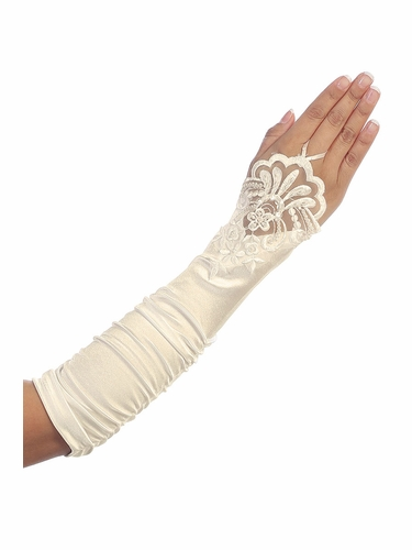 Ivory Long Ruched Satin Adult Glovettes w/ Lace