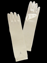 Ivory Long Satin Gloves w/ Rhinestone Cross Accent