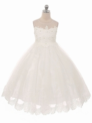 Ivory Mesh & Lace Bodice w/ Tulle Lace Skirt