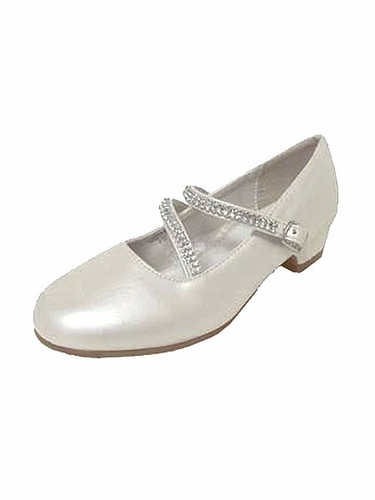 Ivory Patent 1'' Heel Dress Shoe with Double Rhinestone Straps