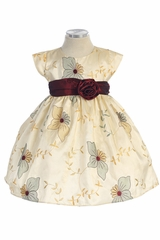 Ivory Poinsettia Embroidered Taffeta Dress