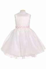 Ivory Ribbon Sleeveless Flower Girl Dress