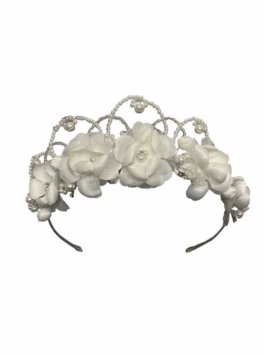 Swea Pea & Lilli UL8214 Ivory Floral & Beaded Head Wreath