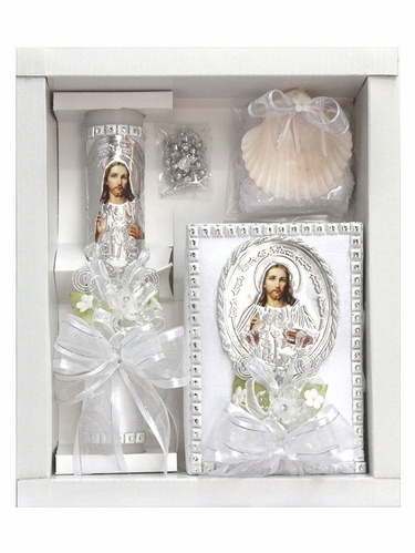 Jesus Baptism Candle Set w/ Spanish New Testament