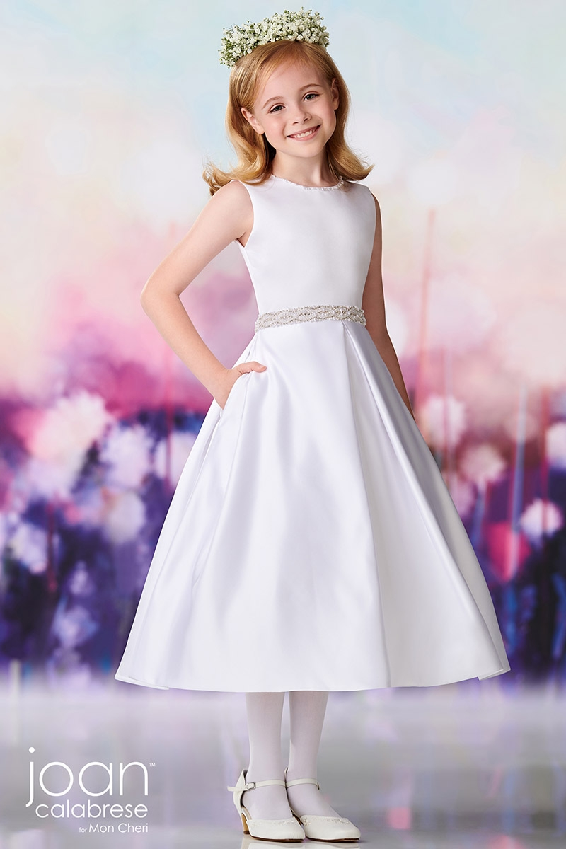 e8083461944 ... First Communion Dresses   Joan Calabrese 119382 Satin Beaded Waistband w   Double Satin Bows on Back. Click to Enlarge ...