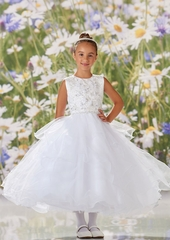 Joan Calabrese 120341 Three- Dimensional Crystal Beaded Bodice w/ Organza Skirt