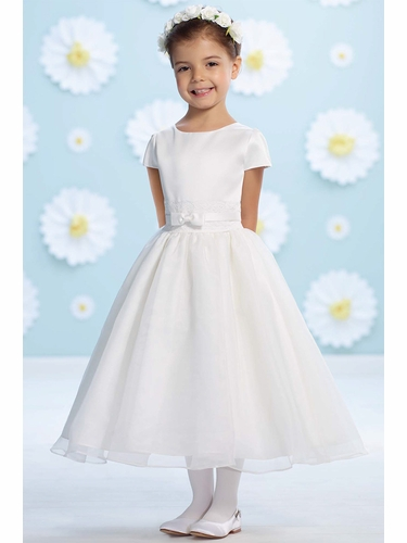 Joan Calabrese Ivory Organza Bow Belt Flower Girl Dress