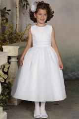 Joan Calabrese White Hand-Beaded & Embroidered Bodice w/ Jewel Neckline & Full Dirndl Skirt