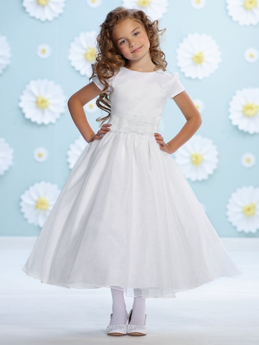 Joan Calabrese White Organza Bow Belt Flower Girl Dress
