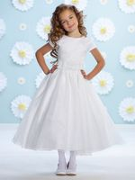 Joan Calabrese White Organza Flower Girl Dress