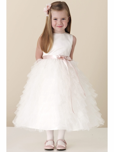 Joan Calabrese White Sleeveless Satin Bodice w/ Tulle & Organza Dress