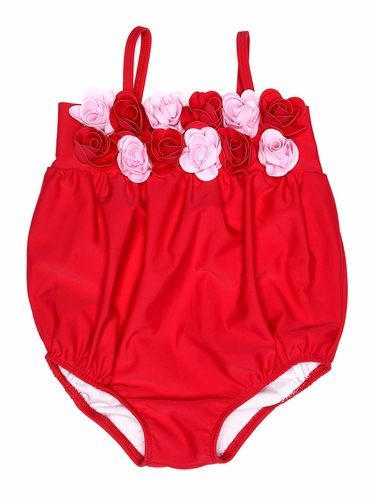 Kate Mack 540 Red Heart's Desire Bubble Swimsuit w/ 3D Rosettes
