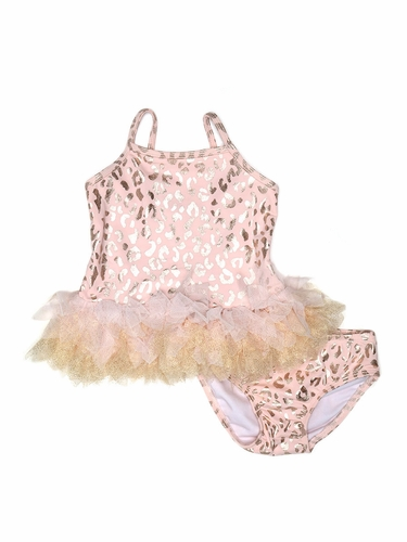 Kate Mack 585 Pink Shimmering Beauty 2 PC Metallic Leopard Print w/ Tutu