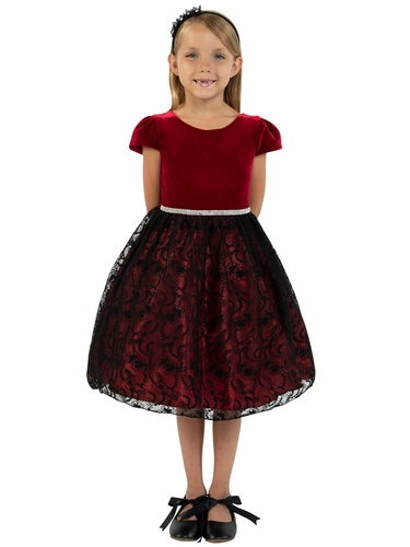 Kids Dream 445 Cap Sleeve Velvet Burgundy Black Lace Dress
