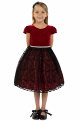 Kids Dream 445 Cap Sleeve Velvet Burgundy & Black Lace Dress