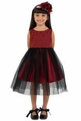 Kids Dream 446 Red & Black Floral Jacquard Illusion Dress