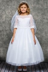 Kids Dream 462 Ornate Embroidery Mesh Overlay Dress
