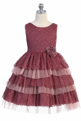 Kids Dream 488 Mulberry 3 Layer Lace Dress