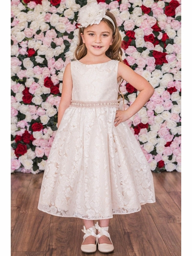 Kids Dream 490 Champagne Lace V-Back Dress w/ Pearl Waistband