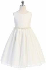 Kids Dream 490 Off-White Lace V-Back Dress w/ Pearl Waistband
