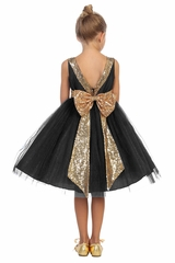 Kids Dream 498 Black Dupioni Tulle Dress w/ Gold Sequins V-Back &Bow