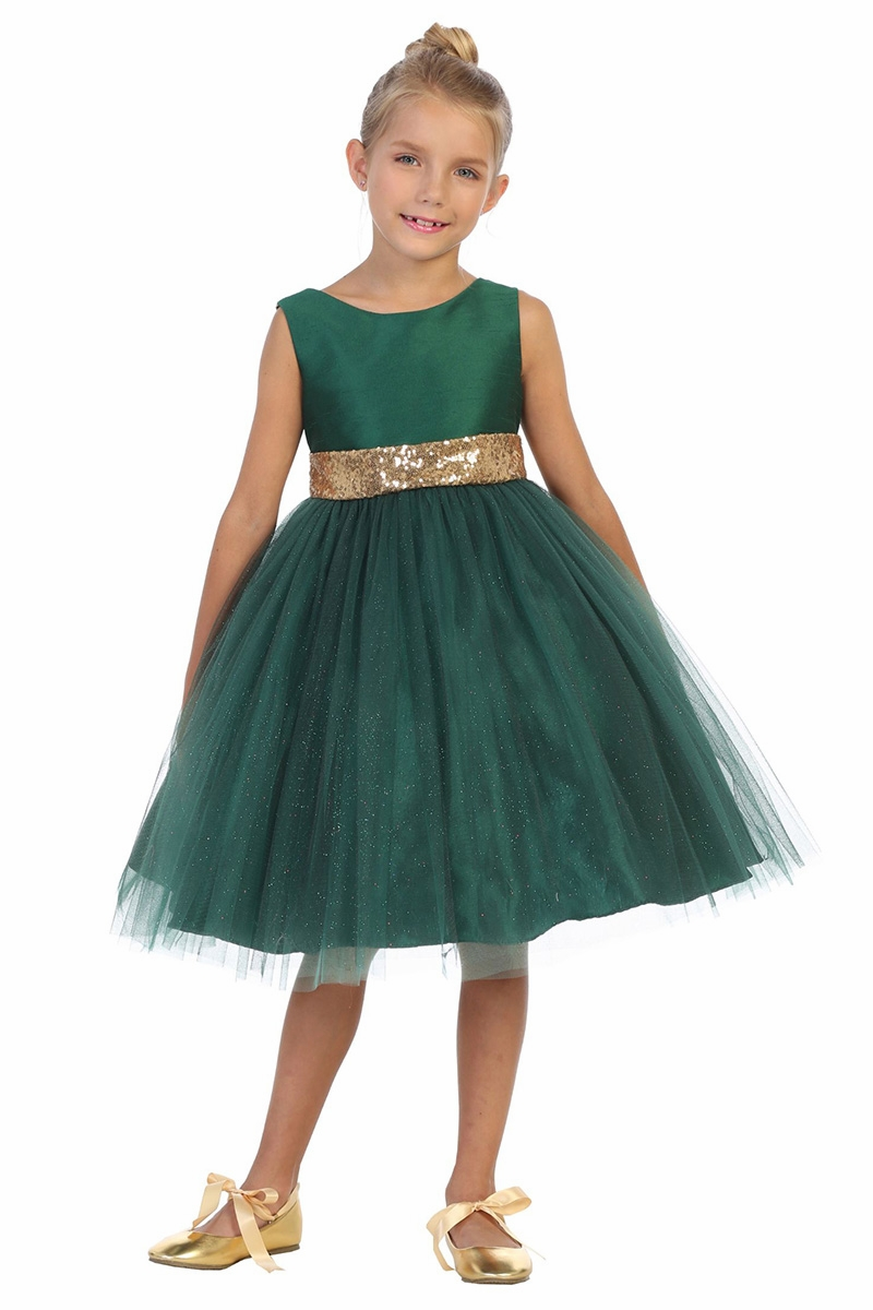 Kids Dream 8 Green Dupioni Tulle Dress w/ Gold Sequins V-Back &Bow