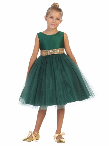 Kids Dream 498 Green Dupioni Tulle Dress w/ Gold Sequins V-Back &Bow