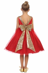 Kids Dream 498 red Dupioni Tulle Dress w/ Gold Sequins V-Back &Bow