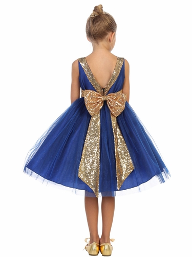 Kids Dream 498 Royal Blue Dupioni Tulle Dress w/ Gold Sequins V-Back &Bow