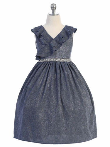 Kids Dream 504 Blue Sparkly Ruffle Dress
