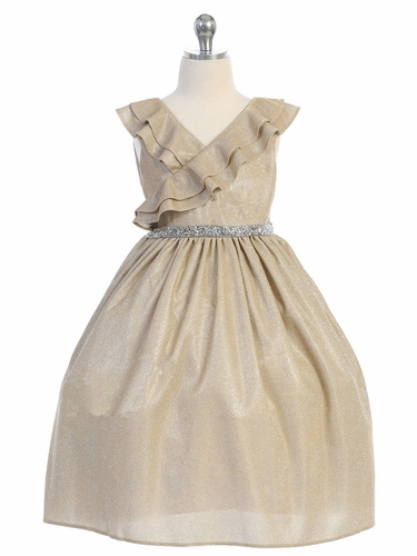 Kids Dream 504 Gold Sparkly Ruffle Dress
