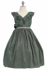 Kids Dream 504 Green Sparkly Ruffle Dress