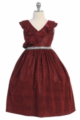 Kids Dream 504 Red Sparkly Ruffle Dress