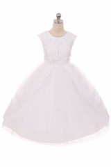 Kids Dream 7008 White Lace Applique Swoop Train Dress