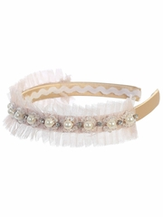 Kids Dream Girls' Champagne Pearl Tulle Headband
