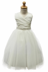Kiki Kids 6001T Matte Satin V-Neck Tulle Skirt Dress w/ Rhinestone Sash