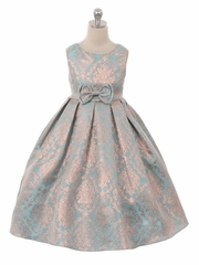 Kiki Kids 6343 Metallic Jacquard Dress
