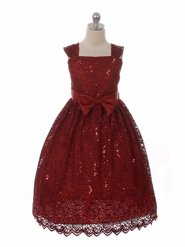 Kiki Kids 6440 Burgundy  Sequins Skater Lace Holiday Dress