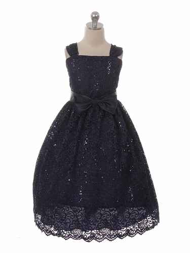 Kiki Kids 6440 Navy Blue  Sequins Skater Lace Holiday Dress