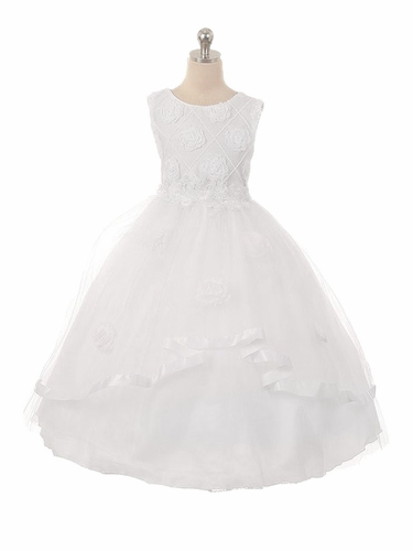 Kiki Kids 6450 White 3D Rose Embroidered Tulle Communion Dress