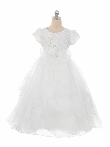 Kiki Kids 6451 White Cap Sleeve Lace w/ Organza Lozenge Skirt Communion Dress