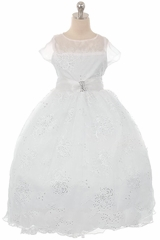 Kiki Kids 6453 White Embroidered Sequin Flower Mesh Communion Dress