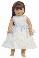 "Light Blue Floral Dress w/ Sash 18"" Doll Dress"