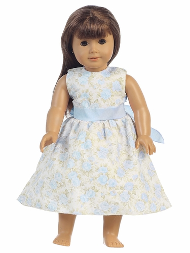 Light Blue Floral Dress w/ Sash 18'' Doll Dress