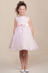 Light Pink Floral Satin Bow Dress