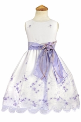 Lilac Embroidered Organza Dress w/ Taffeta Sash