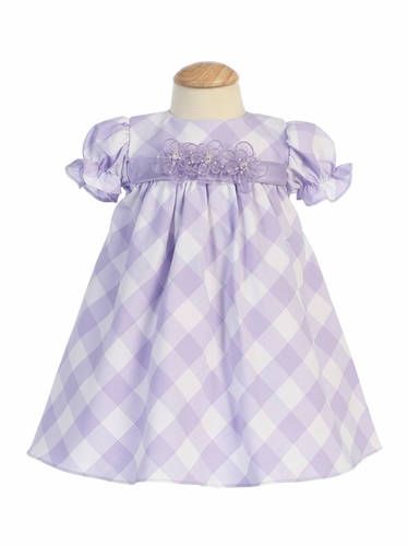 Lilac/White Cotton Gingham Checked Baby Dress